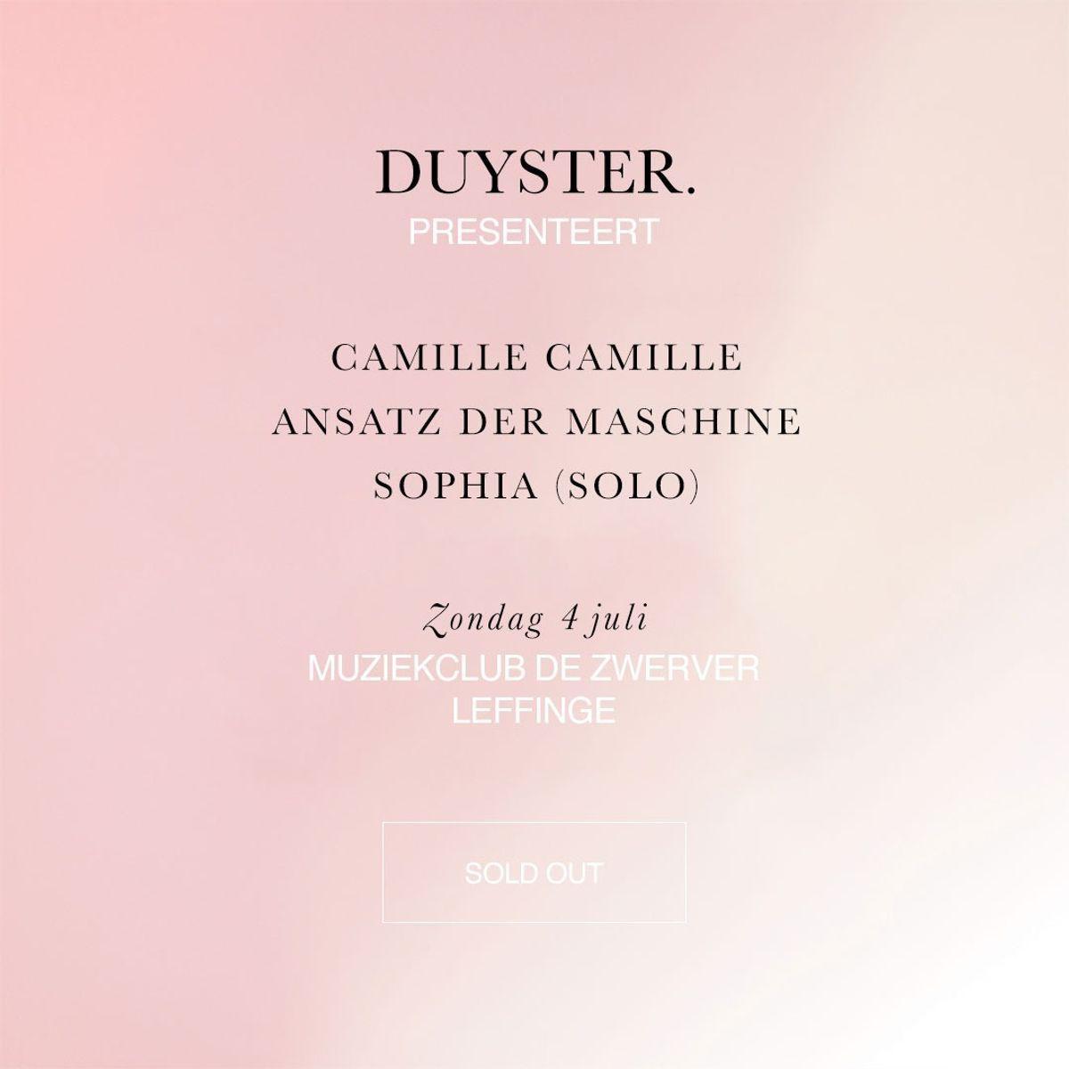 Duyster presenteert Sophia (solo) en meer - De wereld is om zeep, zei hij lachend